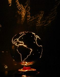 Light up Globe DIY Drill small holes around the continents, then make a base…