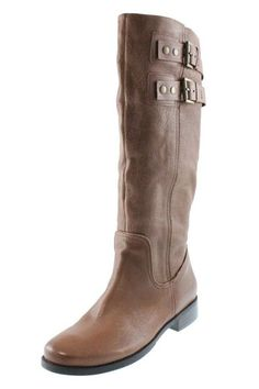 Nine West Tumble Brown Leather Buckle Embellished Knee-High Boots Shoes