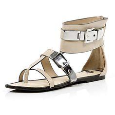 light pink metal buckle sandals