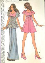 McCalls 3682 Vintage 70s Sewing Pattern, Empire Waist Dress & Top, Ex Small