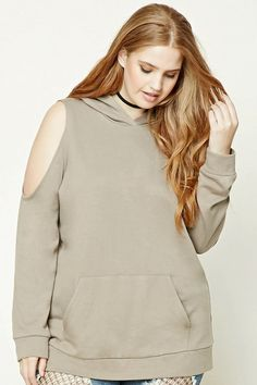 Forever 21+ - A French terry longline hoodie featuring an open shoulder design, long sleeves, a kangaroo pocket, and ribbed trim.
