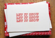 Let It Snow - Pack of 5 Letterpress Christmas Cards £8.99