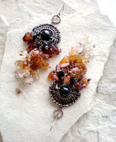 Wire-wrapped copper earrings Chandelier earrings by BikiLine