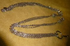 Silver Chain badge holder/lanyard or necklace 42 inches by DezignsbyMel on Etsy