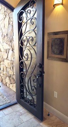 Top Amazing design ideas of wrought iron doors Wrought Iron Decor, Wrought Iron Gates, Door Gate Design, Front Door Design, Iron Front Door, Iron Doors, Exterior Doors, Entry Doors, Patio Doors