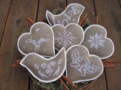 Cross stitch and felt Ornaments finished