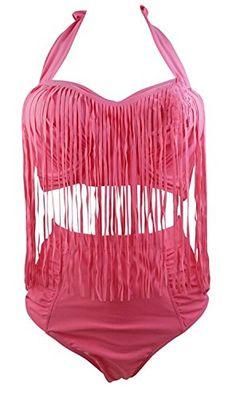 dc2c1393401 Womens Plus Size Bikini Retro High Waist Braided Fringe Top Swimwear Plus  Size