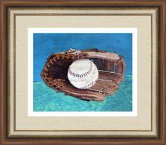 baseball glove & ball 2, by  fractal mandala art