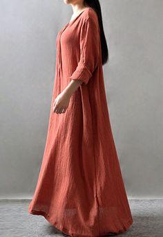 As Mulheres Plus Size Vestido de manga longa de algodão e linho solto túnica Coquetel maxivestidos
