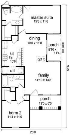 Cottage Style House Plan - 2 Beds 2.00 Baths 1044 Sq/Ft Plan #84-510 Floor Plan - Main Floor Plan - Houseplans.com