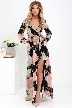 I am just in love with floral maxi dresses! Take a look at the Wondrous Water Lilies Black Floral Print Maxi Dress. Floral Print Maxi Dress, Maxi Wrap Dress, Maxi Dress With Sleeves, Floral Sundress, Slit Dress, Half Sleeves, Skater Dress, Cardigan Long, Cute Dresses