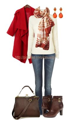 """""""Printed Scarf & Red Drape"""" by casuality on Polyvore"""