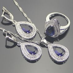 Blue Created Sapphire White Topaz 925 Sterling Silver Jewelry Sets For Women Sliver Pendant/Necklace/Earrings/Rings Free Box