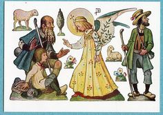 G7074 Nativity Cut Out Postcard Angel and Shepherds | eBay
