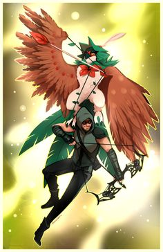 Decidueye & Green Arrow - http://momo-deary.tumblr.com/