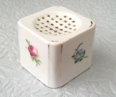 Ceramic Pounce Pot. This probably would have sat on a tray with a matching inkwell._Judith Walker's Collection