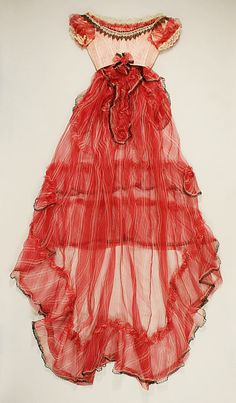 Unknown Maker. Silk and Cotton Ball Gown. Late 1860s. European.