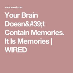 Your Brain Doesn't Contain Memories. It Is Memories | WIRED