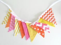 Birthday Party Decoration Fabric Flags Bunting by OvationStudio