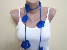 Lariat Handmade scarf flowers Spring new fashion by BloomedFlower, $21.00