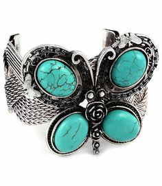 Fashionable Turquoise Butterfly Cuff Bracelet. Starting at $10 on Tophatter.com!  #tophattergifts