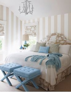 vertical paint stripes, Bedroom. More lusciousness at http://mylusciouslife.com/luscious-bedrooms/