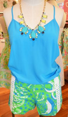 Lilly Pulitzer Dusk Top, Liza Short & Spring Fling Necklace