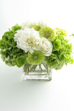green with white I love hydrangeas love them fresh or dried I would suggest using potted ones in galvanized pots then plant them in your yard of your new home together. Now that's how florals should travel through a wedding... Not just to die but for them to follow you to the new home together and to grow all together in this new life.. Comments/gemjunkiejewels