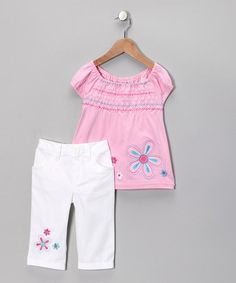 Take a look at this Pink Flower Tunic & Pants - Toddler & Girls by Young Hearts on #zulily today!