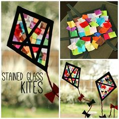 We have somecolorful tissue paper stained glass kitesdecorating our windows. This is a super-easy, no-mess craft, great for little ones and big kids alike!