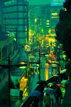 wet streets   tokyo, japan.
