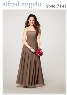 Alfred Angelo long strapless chiffon bridesmaid dresses in mocha