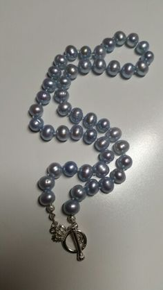 Baby Blue Strung Pearls woth Sterling Silver Clasp