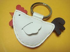 Leather keychain  Rebacca the Rooster Leather by leatherprince, $17.90