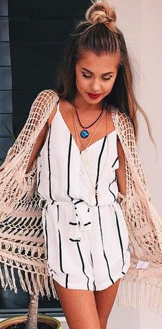 Top knot with crochet kimono and romper