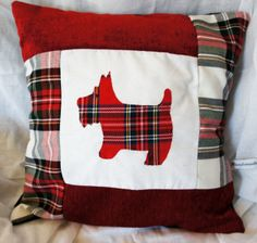 Red Tartan Scottie Dog Cushion Cover