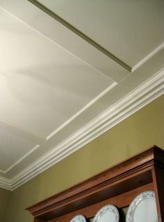 Faux Coffered Ceiling To Hide Popcorn Ceiling Design