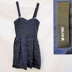 Free Postage - Wayne Cooper Dress Size 10 Navy Blue Bodice - Box Pleats (Size 2)