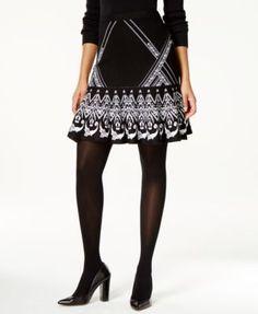 Grace Elements Mixed-Print A-Line Sweater Skirt