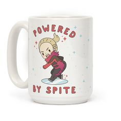 """Powered By Spite - Channel your inner Yuri Plisetsky with this cute anime mug. This design features an illustration of Yurio skating and the phrase """"Powered By Spite."""""""