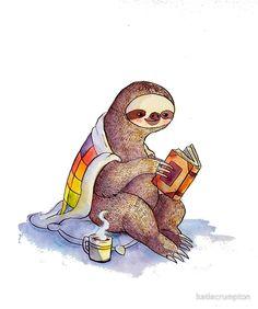 """Cozy Sloth"" Posters by katiecrumpton   Redbubble"