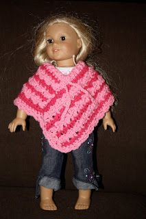 """Free 18"""" Doll Poncho Pattern (shown on American Girl!)"""