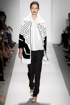 Dennis Basso black and white fur coat