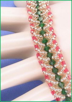 """05-374 Green Bicone and Red Hex with Gold Lined Seed Bead Bracelet along with a Fold Over Clasp """"FREE SHIPPING"""""""