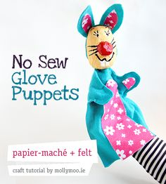 no_sew-bunny-Puppet...think I found my 2nd grade sculpture/fiber project....write their own short play and perform for their class