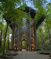 Thorncrown Chapel is a chapel located in Eureka Springs, Arkansas, designed by E. Fay Jones and constructed in 1980. The chapel was commissioned by Jim Reed, a retired schoolteacher. Constructed mostly of wood and other materials indigenous to northwestern Arkansas, the design minimized material transportation costs. Though it looks like an open-air structure, the chapel is a glass-enclosed, conditioned space.