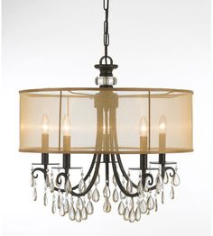 Crystorama Lighting Hampton 5 Light Chandelier in English Bronze and Etruscan Smooth Oysters 5625-EB