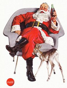 Santa Claus Coca-Cola Ad, ca. Love these old Coca Cola ads.