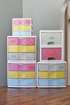 DecoArt Blog Revamped Plastic Storage Drawers #organization #DIY
