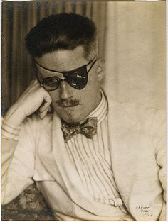 "HAPPY BIRTHDAY JAMES JOYCE & TO HIS BOOK ""ULYSSES"" (which was published on Feb. 2, 1922) --- © Berenice Abbott, 1926, Portrait of James Joyce --- When Abbott photographed James Joyce in 1926 he was one of the most important writers in Paris and at the center of the expatriate literary circle that frequented Sylvia Beach's bookshop ""Shakespeare and Company."" Read more here: http://burnedshoes.tumblr.com/post/42109981612/bereniceabbott"